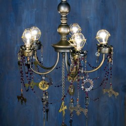 Turn a thrift store chandelier into a Steampunk Chandelier with gears, keys, and clock faces. Add beaded chain to make it Steampunk Chic!