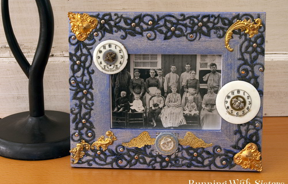 Make your own Steampunk Chic Picture Frame with brass stampings, charms, and watch faces.