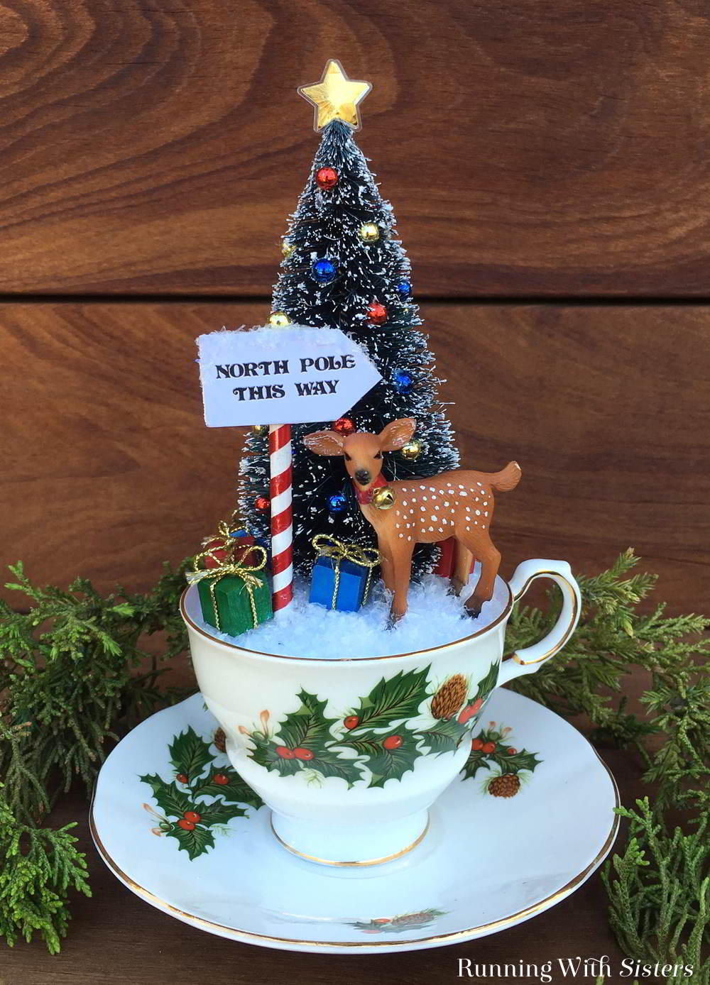 Christmas Craft Show Ideas Part - 28: Make Teacup Christmas Scene With A Bottlebrush Tree And Little Reindeer.  Weu0027ll Show