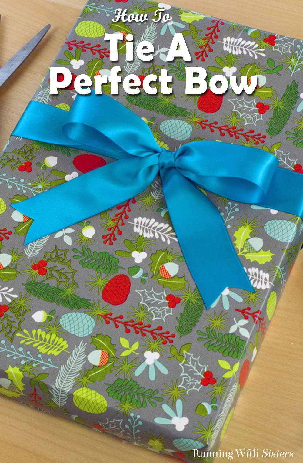 Learn to tie a perfect bow. In this video and step by step tutorial you'll learn how to tie a perfect bow and how to cut the ends. No more twisting bows!