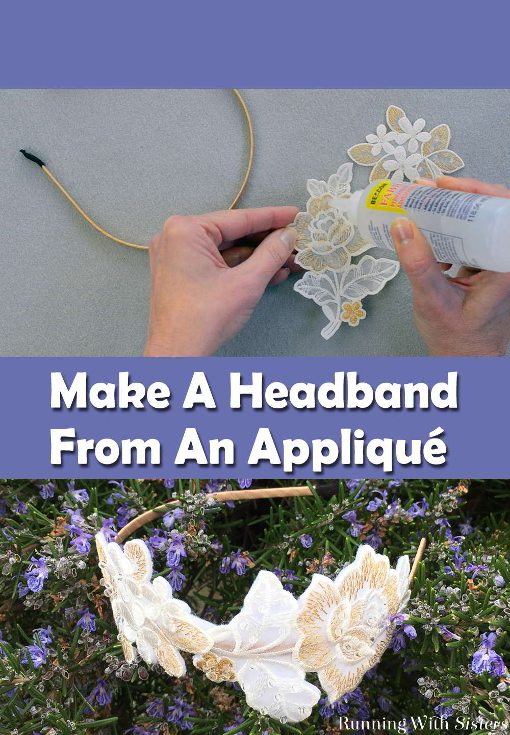 We love the look of fancy pearl and embroidery headbands. Here's how to make your own Appliqué Headband using pretty appliqués from the fabric store.