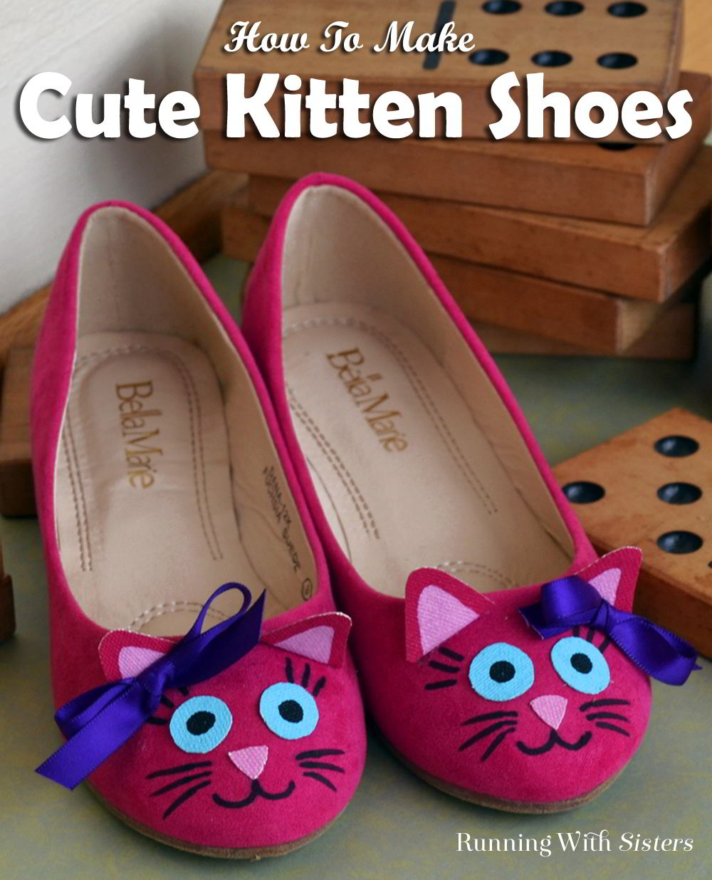 Turn a pair of pink flats into super cute kitten shoes! Just add kitty cat ears and a sweet little kitty cat face.