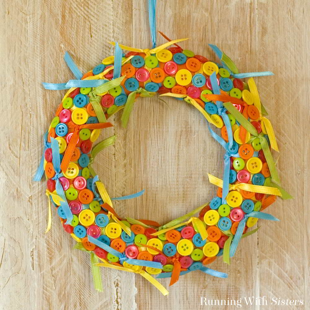 Sweet Ribbon And Button Wreath Running With Sisters