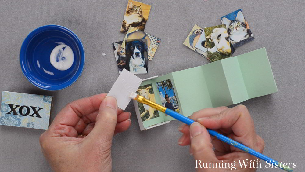 3 Matchbox Mini Scrapbook - Glue Photos Onto Accordion