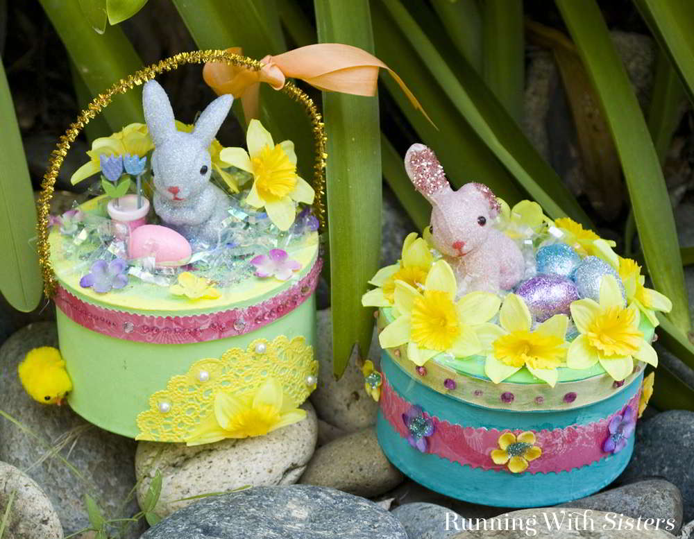This Easter make Sweet Easter Boxes! Set up a craft table with glittery bunnies, Easter grass, and sparkly eggs, and get creative making Easter candy boxes!