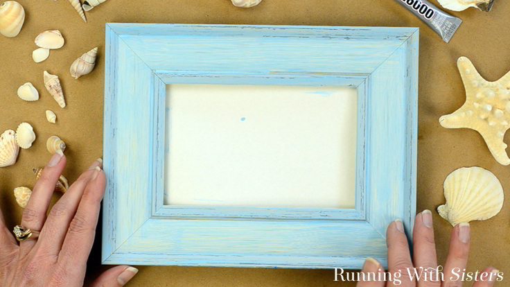 1b Seashell Picture Frame Paint And Distress Picture Frame