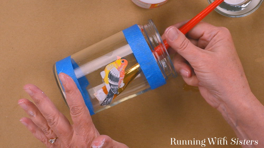 How To Decoupage A Glass Jar With Mod Podge - Running With