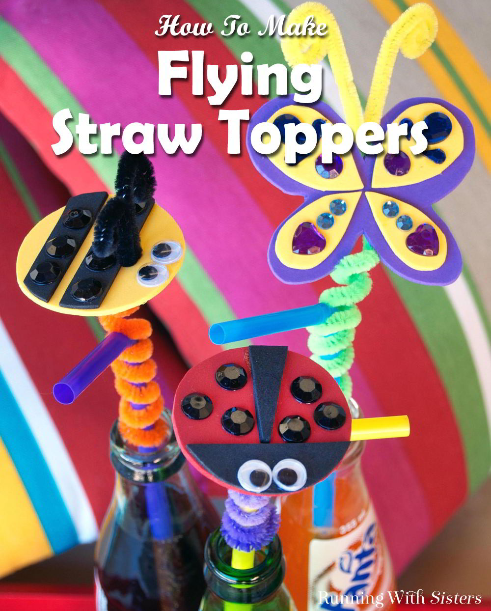 Make fun straw toppers to sip your lemonade. This kid craft is fun for parties and uses craft foam!