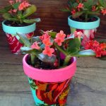 Flowery Mini Terra Cotta Pots: How To Decoupage With Fabric