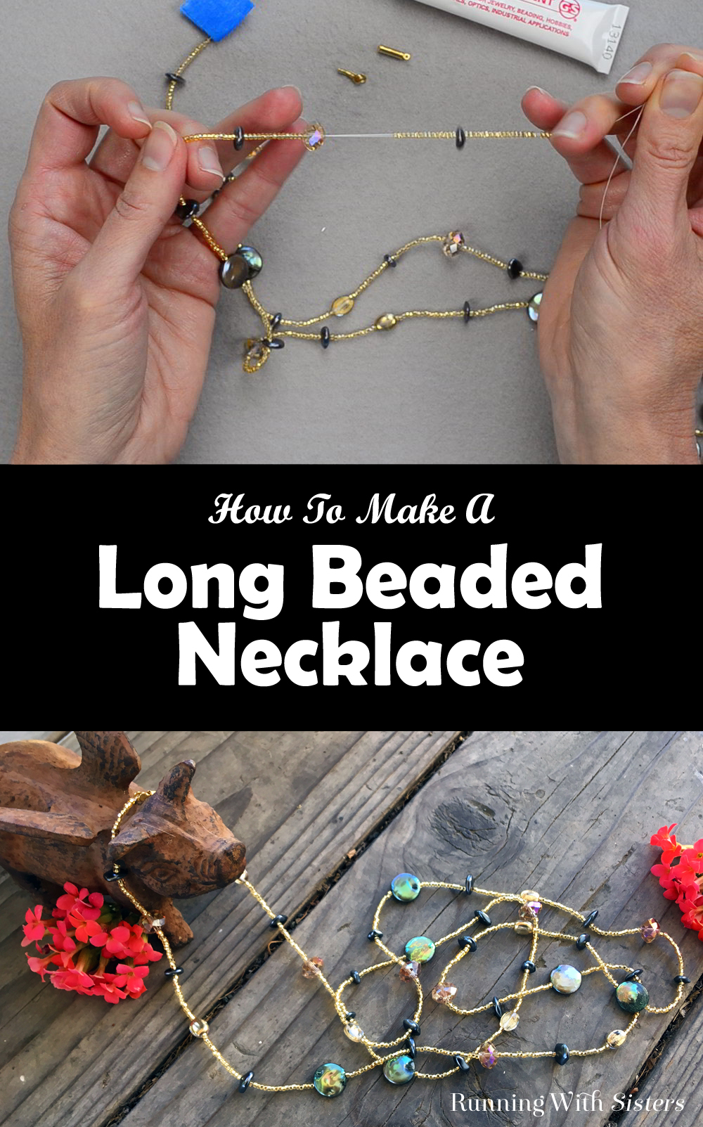 Learn to make a long beaded necklace with this easy to follow video tutorial. Learn how to feed on the beads and how to add the clasp. No tools needed!