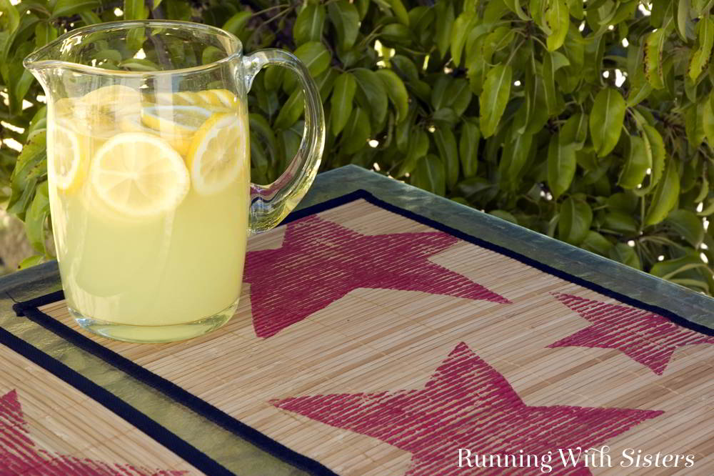 Make your own large star rubber stamps then use them to star stamped placemats for Fourth of July. Fun dollar store craft!