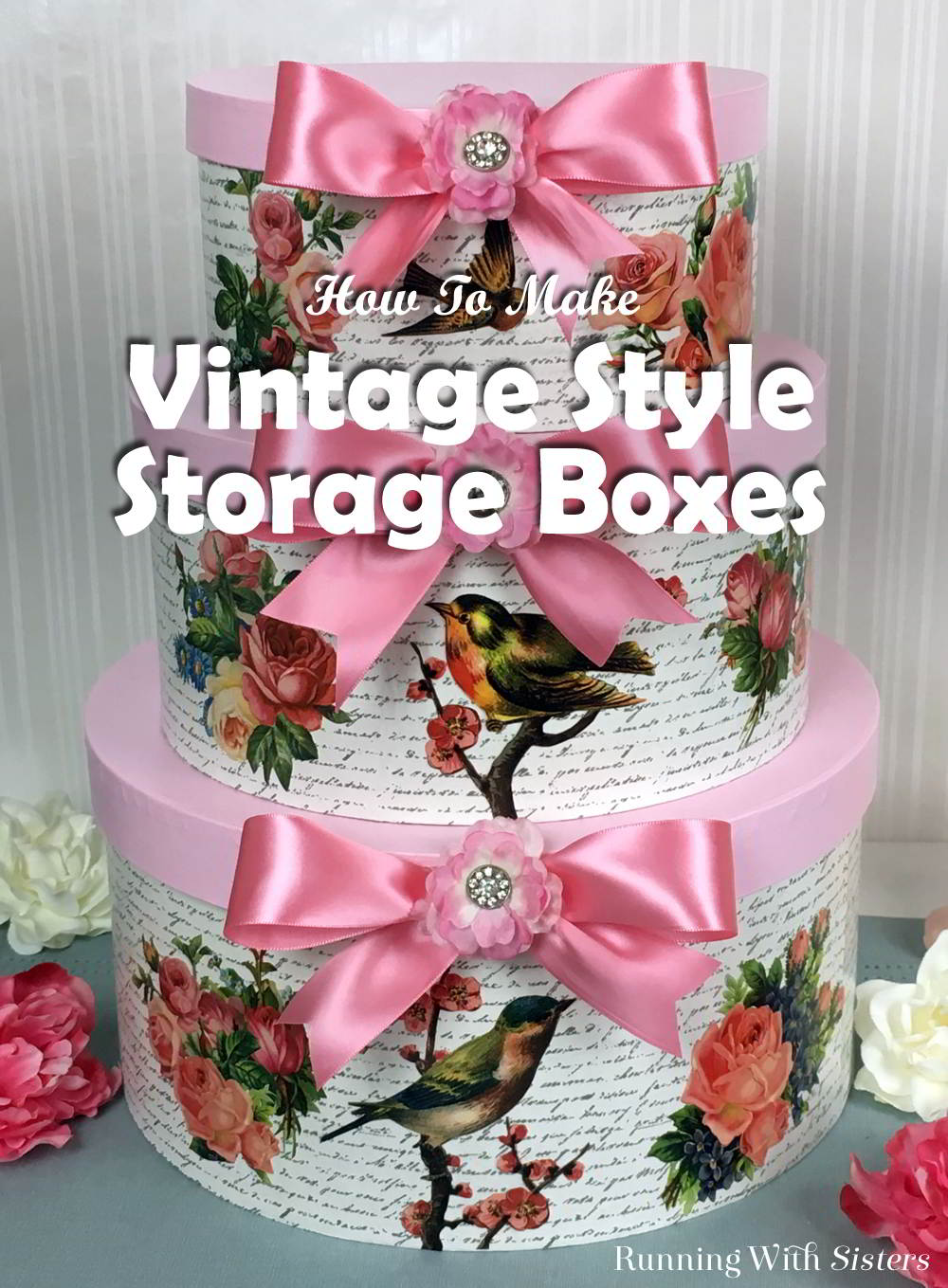 Turn ordinary round hat boxes into Vintage Decorated Storage Boxes! We'll tell you how to decoupage in this craft tutorial featuring clip art and Mod Podge!