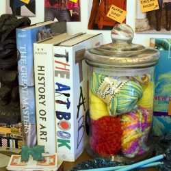 More creative storage ideas for crafts! Craft materials are so pretty, why hide them? Plus seeing your craft supplies will inspire you to get creative!