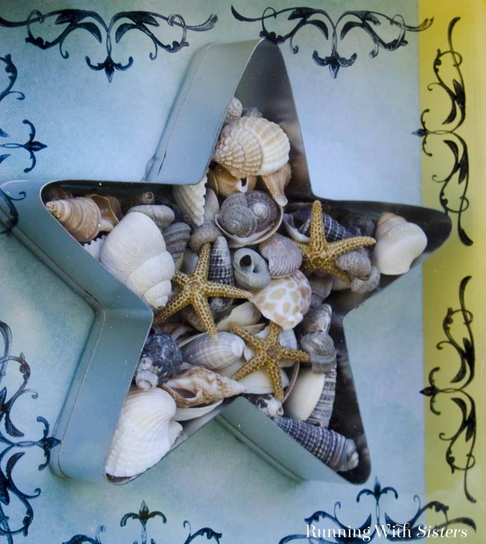 Make a handmade beachy seashell shadowbox with a cookie cutter and tiny shells. This DIY shadowbox is easy to make and looks great!