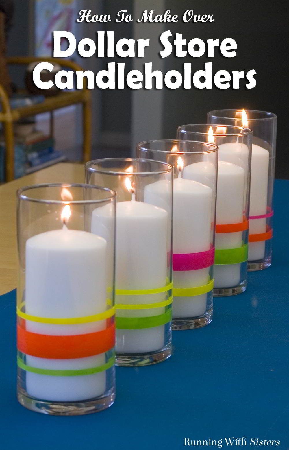 Makeover dollar store candle holders with masking tape and nail polish!