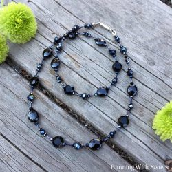 Learn to make this Black Tie Beaded Necklace. We'll share what materials to buy and how to put on the clasp. Perfect for a holiday cocktail party!