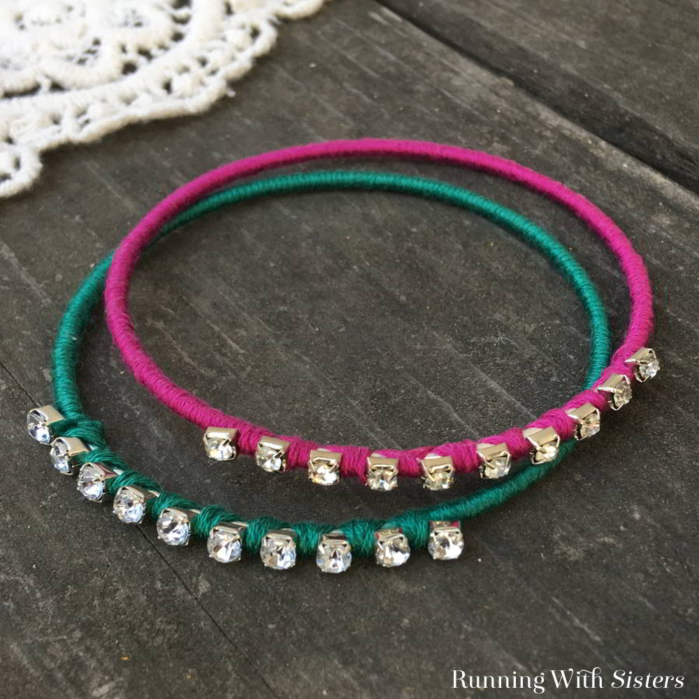 Learn to make Colorful Rhinestone Bangles. We'll show you how to wrap inexpensive bangles with embroidery floss and cup chain to make these Boho Beauties!