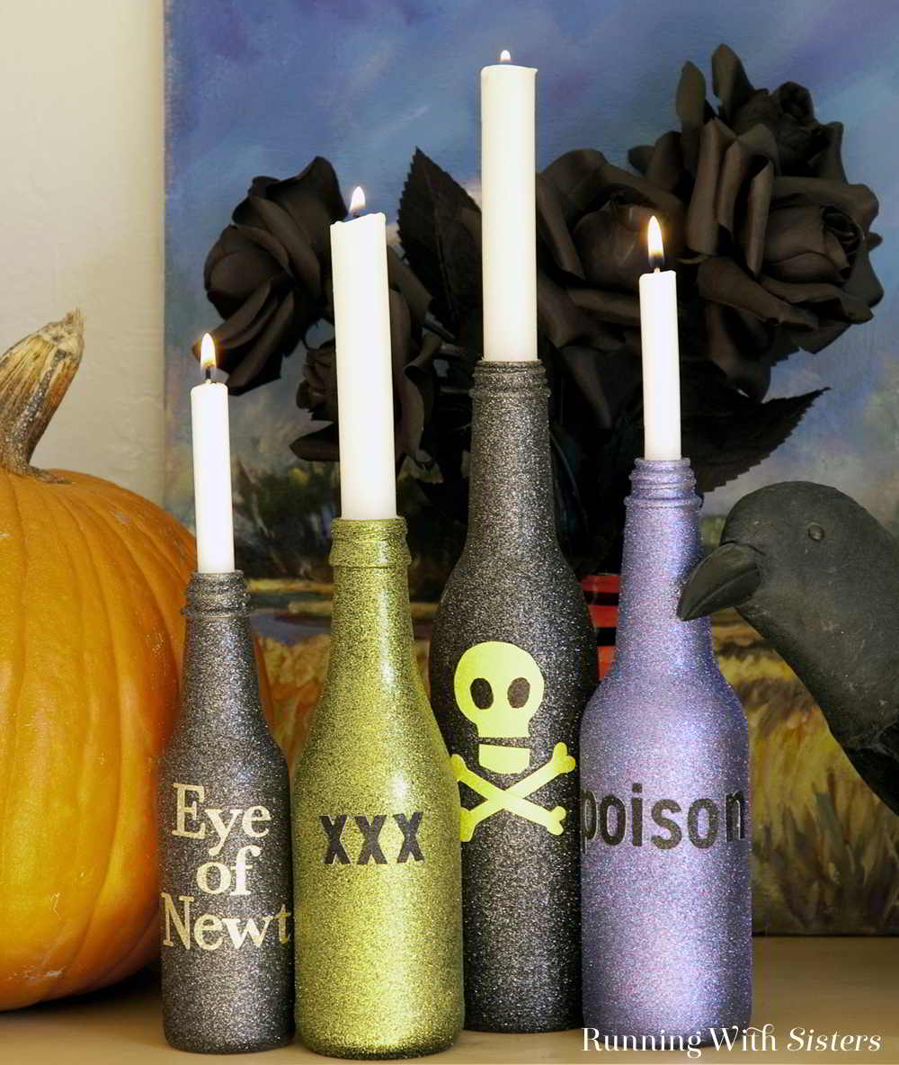 Cast a spell with these Halloween spell bottles. The perfect Halloween candlesticks! Glitter them with spry paint, then label with stickers. Eerily easy!
