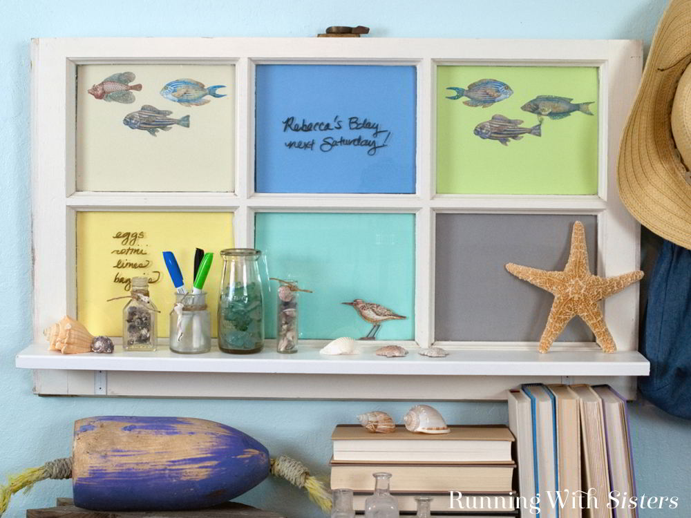 "Make an Upcycled Window Shelf from an old window. This DIY window shelf is a great way to ""add a window"" to a room plus you can use the panes as a memo board."