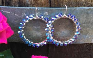 Tanzanite Crystal Wrapped Hoops