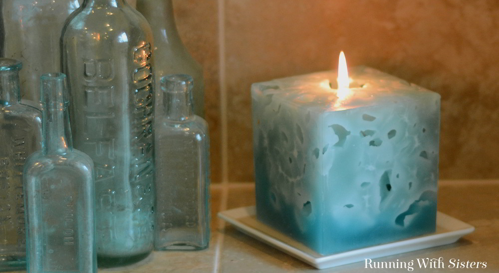 Make a cool Ice Candle using a milk carton and ice. As the ice melts it leaves holes in the candle. Great gift craft!