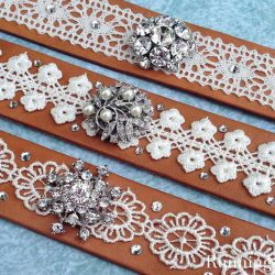 Make a Leather And Lace Cuff Bracelet using a leather wristband, lace, and an old brooch. We'll show you every step! Come craft with us!