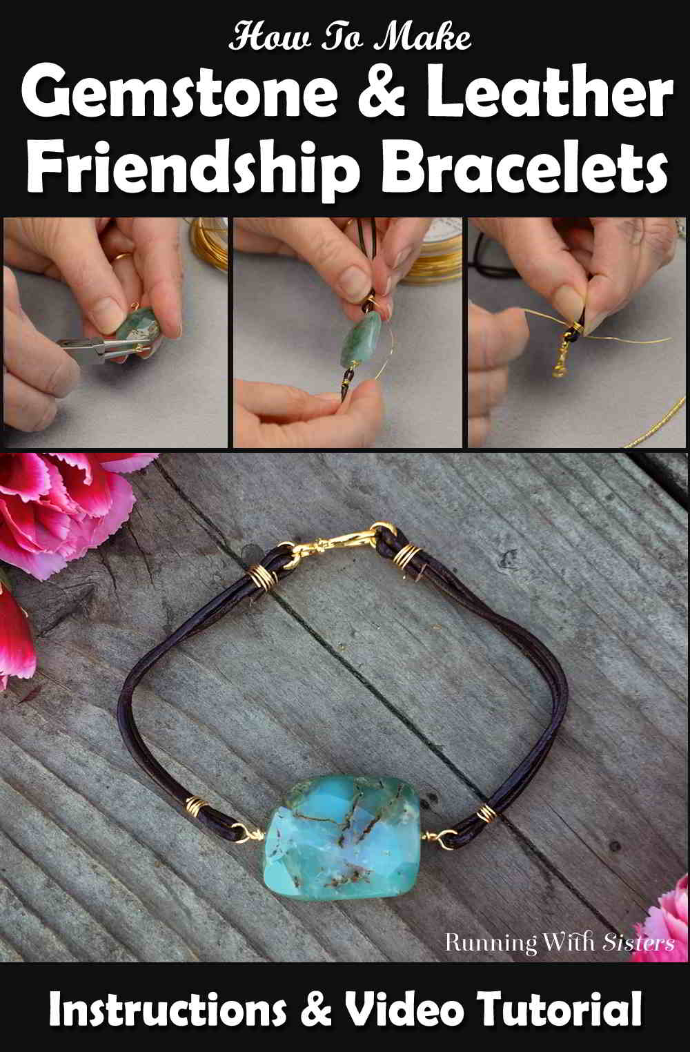 Make a Gemstone Leather Friendship Bracelet for a friend and one for yourself too! We'll show you how in this step by step video. Great for a beginner!