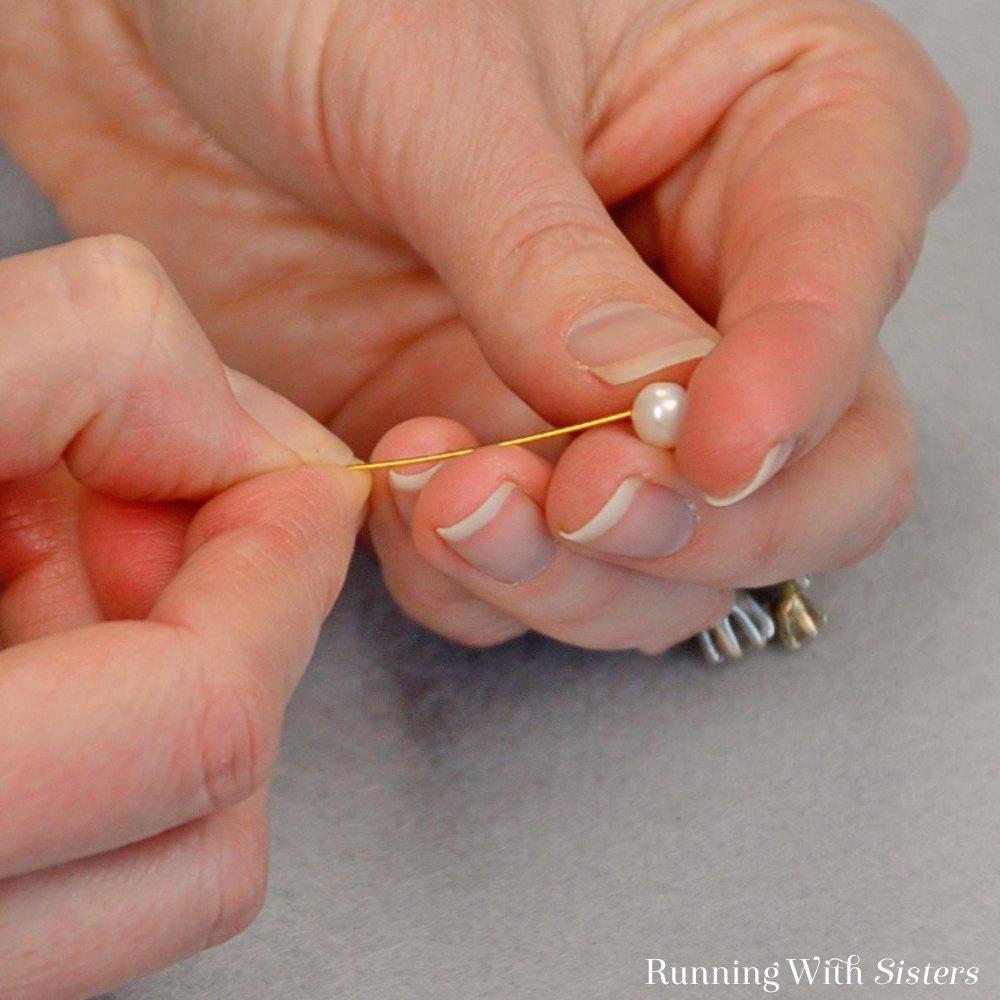 1 Pearl Lily Earrings - Feed Bead Onto Headpin