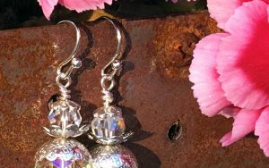 Crystal Bead Cap Earrings