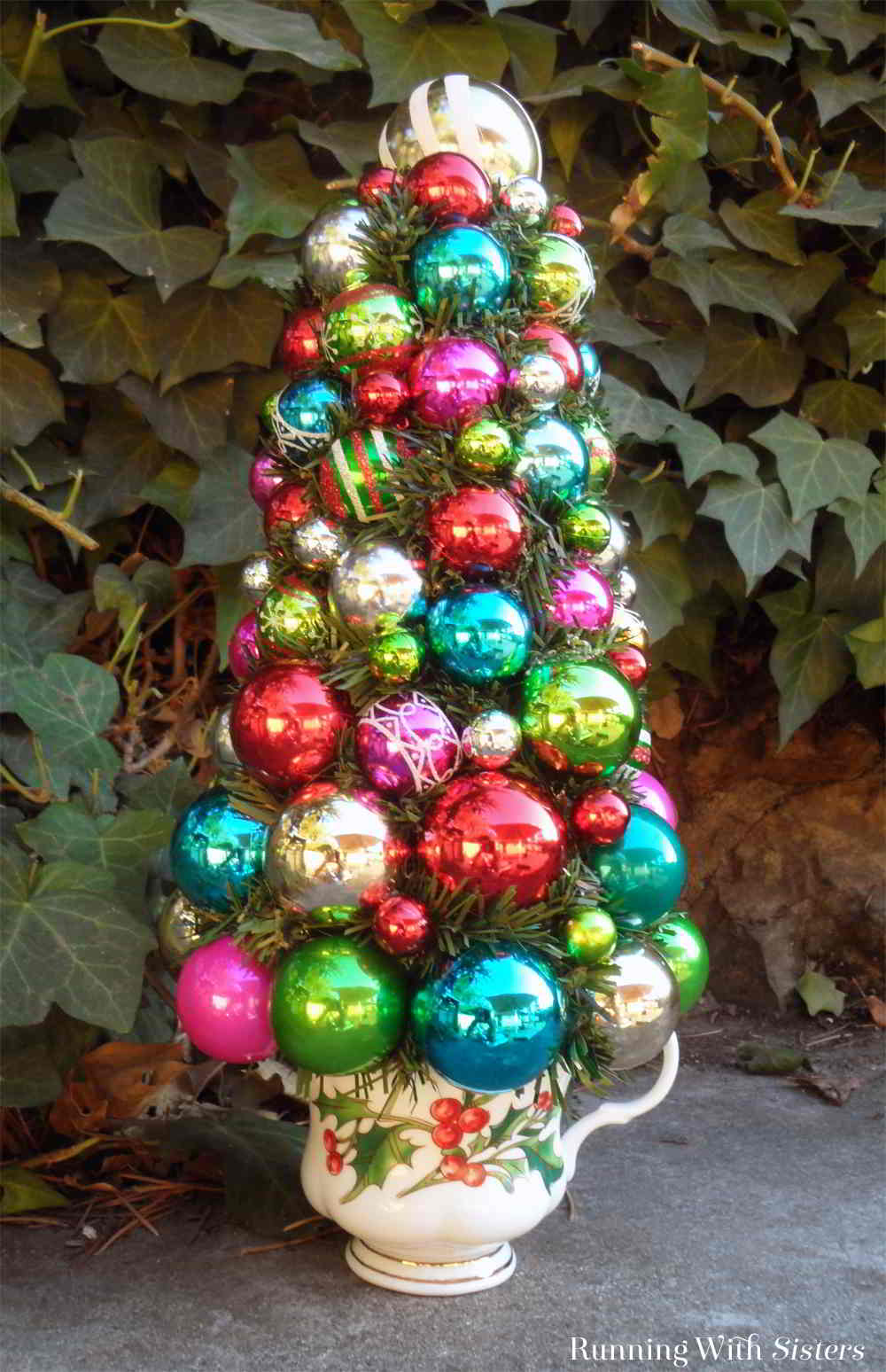make shiny brite christmas topiary using christmas ornaments this easy christmas craft will be a - Christmas Topiary