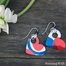These cute Punched Tin Heart Earrings are made from a soda can. Fun for Valentine's Day!