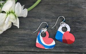 Punched Tin Heart Earrings