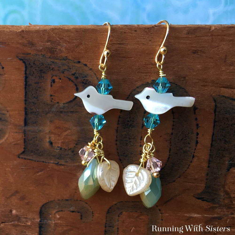 Make a pair of Birdy Boho Earrings using mother-of-pearl bird beads and crystal bicones. Watch our video to see how!