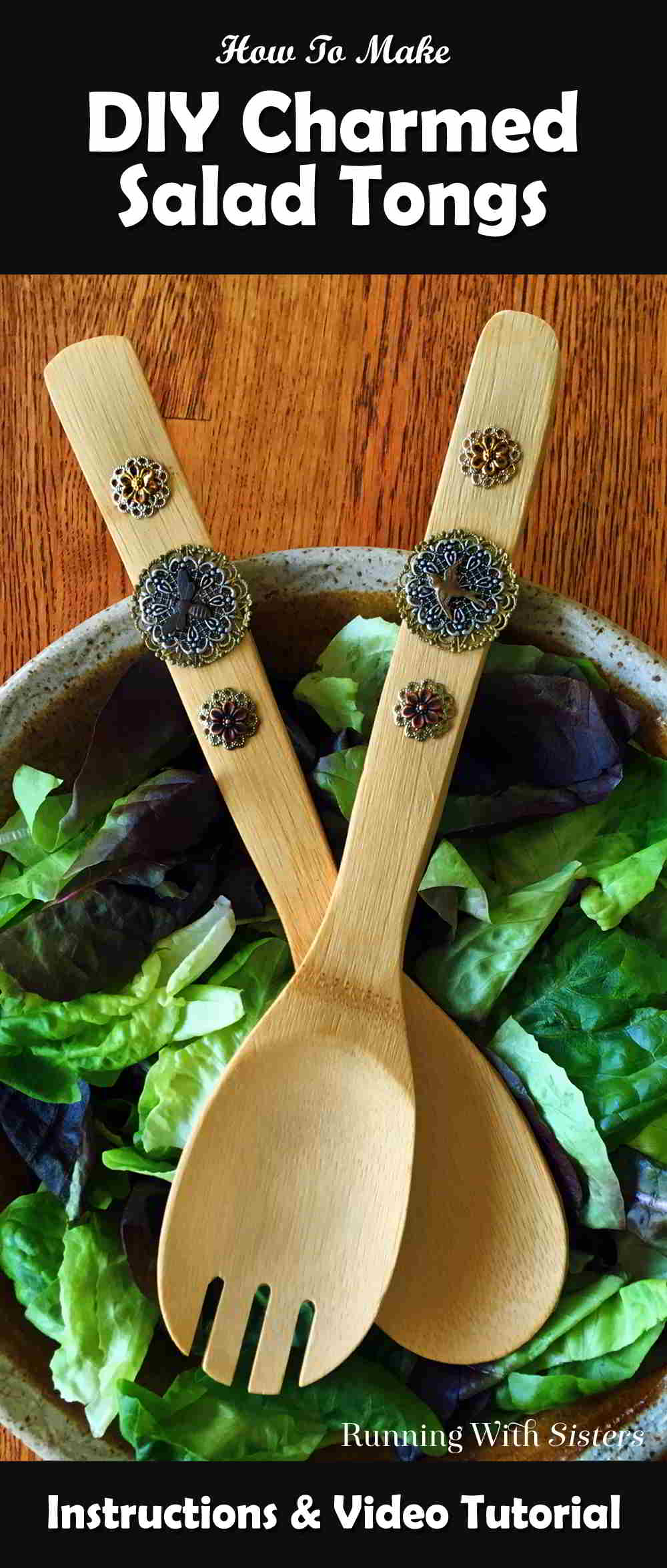 Create a set of Charmed Salad Tongs with pretty metal filigrees and charms. We'll show you every step. This makes for a unique DIY gift!