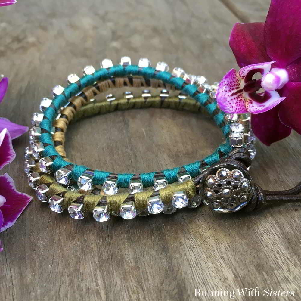 Learn how to make a trendy Rhinestone Wrap Bracelet using rhinestone cupchain, embroidery floss, and a vintage style button!