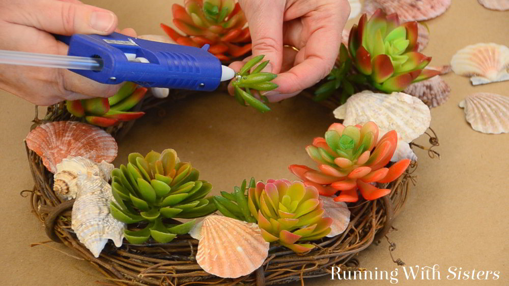 Make this Summer Succulent Wreath using Dollar Store faux succulents and seashells. We'll show you how with this video tutorial.