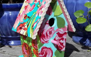 Pretty Fabric Covered Birdhouse