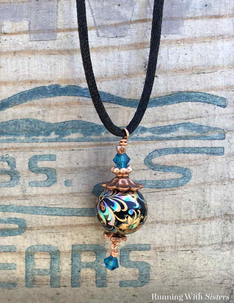 Make a Long Pendant Necklace using beads and bead caps. This one is so easy and so wearable!
