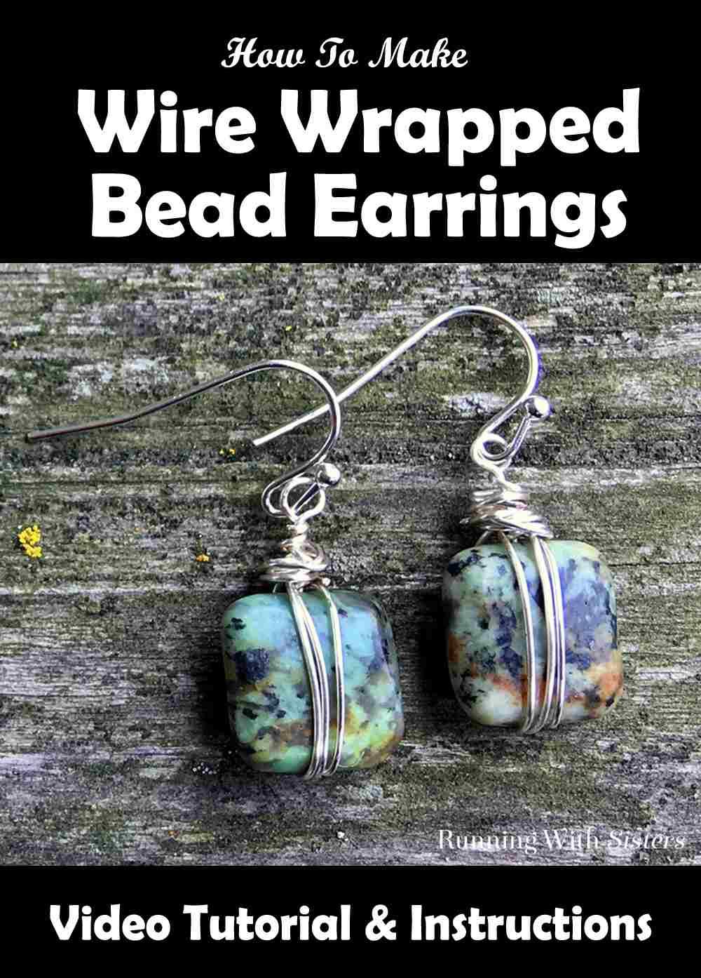 Wire Wrapped Bead Earrings Pinterest