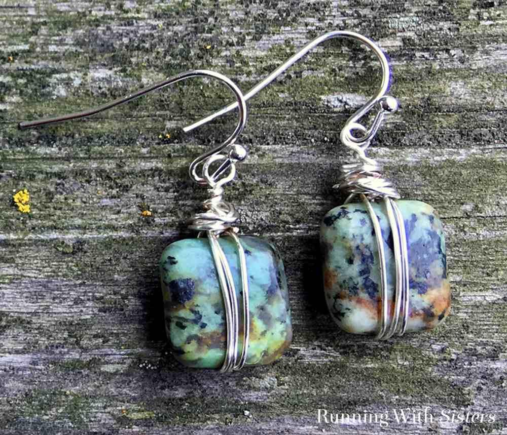 Wire Wrapped Bead Earrings