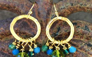 Gold Circle Crystal Cluster Earrings