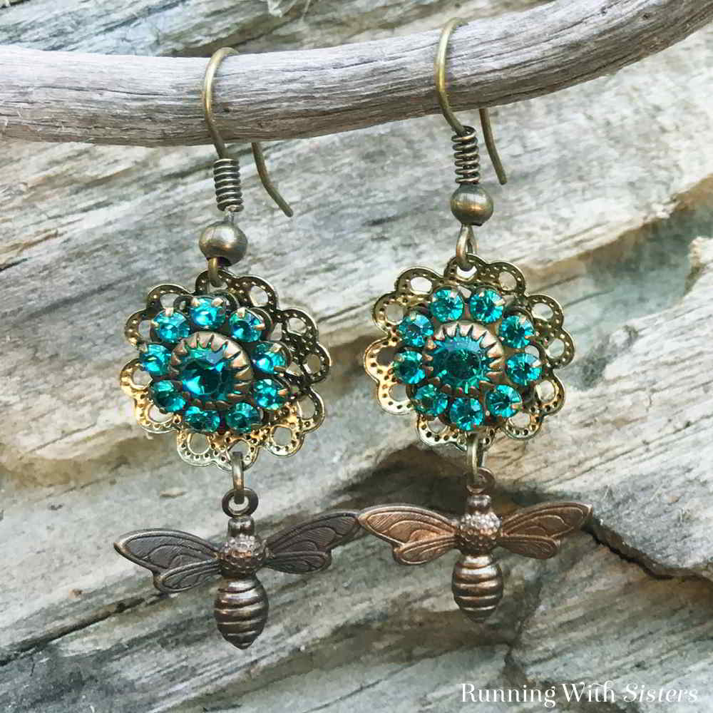 Make these Easy Flower And Bee Earrings. We'll show you how to glitz up the filigree flower with a rhinestone rosette and how to hang the copper bee charm.