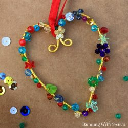 Make a pretty Beaded Heart Ornament using wire, sequins, and beads. This is a fun craft to do with kids. Great for Christmas or Valentine's Day!