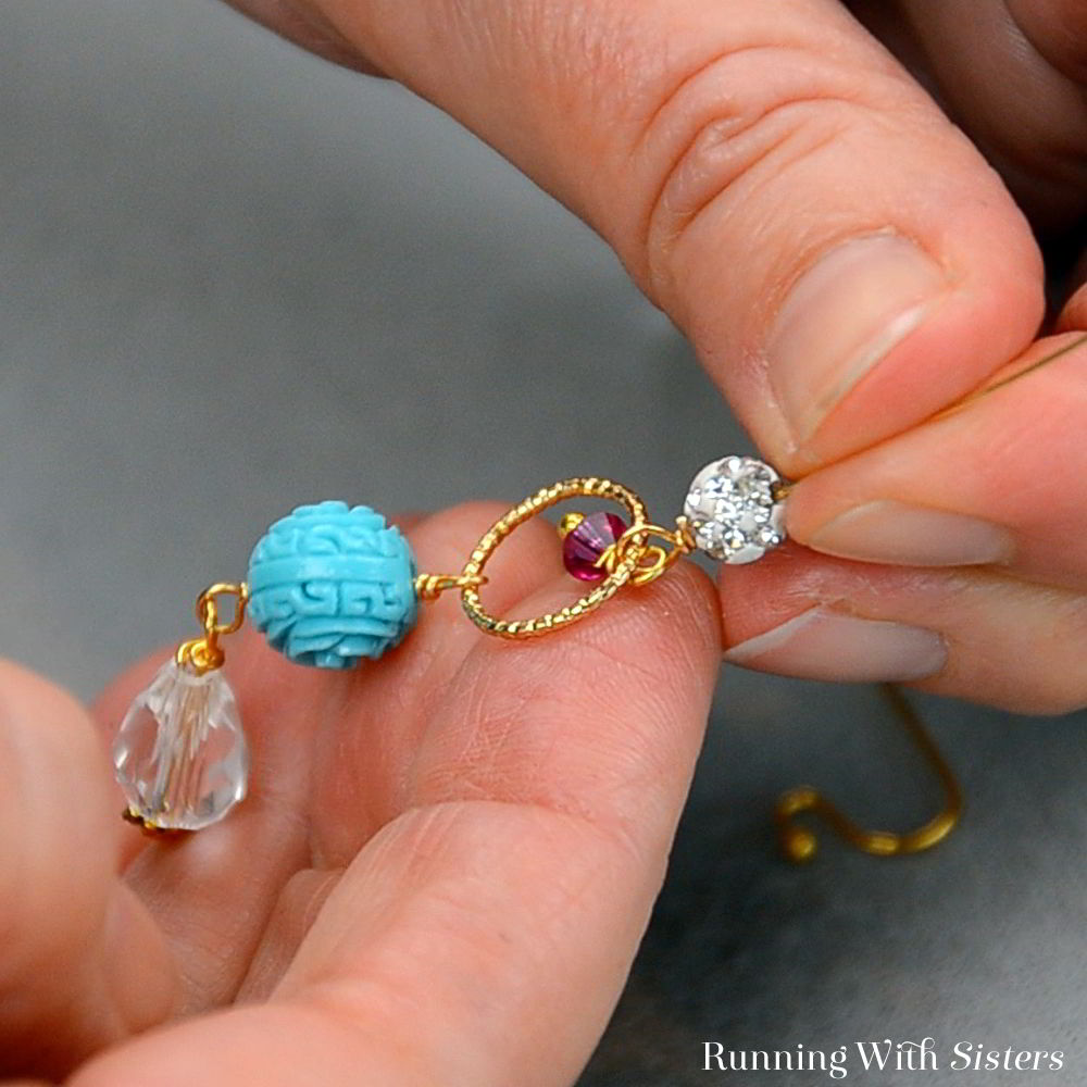 Make a pair of sweet Turquoise Flower Drop Earrings. We'll show you how to get started in wirework with these dangling Boho earrings. Perfect for beginners!