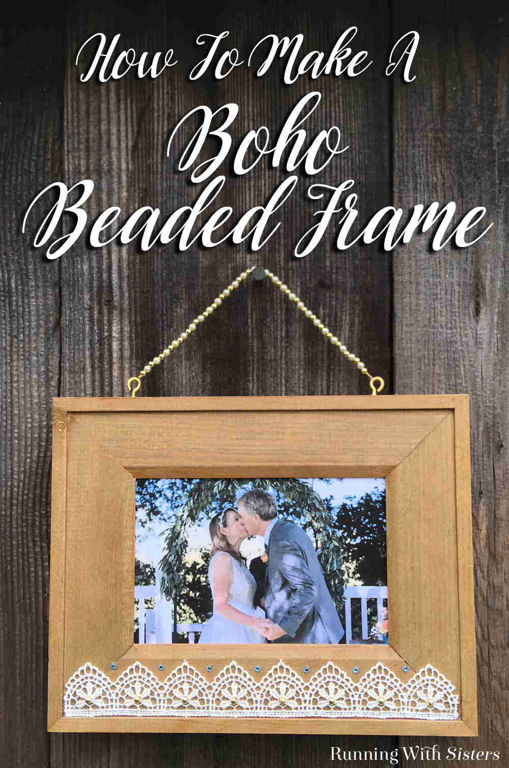 Turn a wooden picture frame into a Bead And Lace Boho Frame. We'll show you how to add lace and beads then make a beaded wire hanger. A great DIY gift!