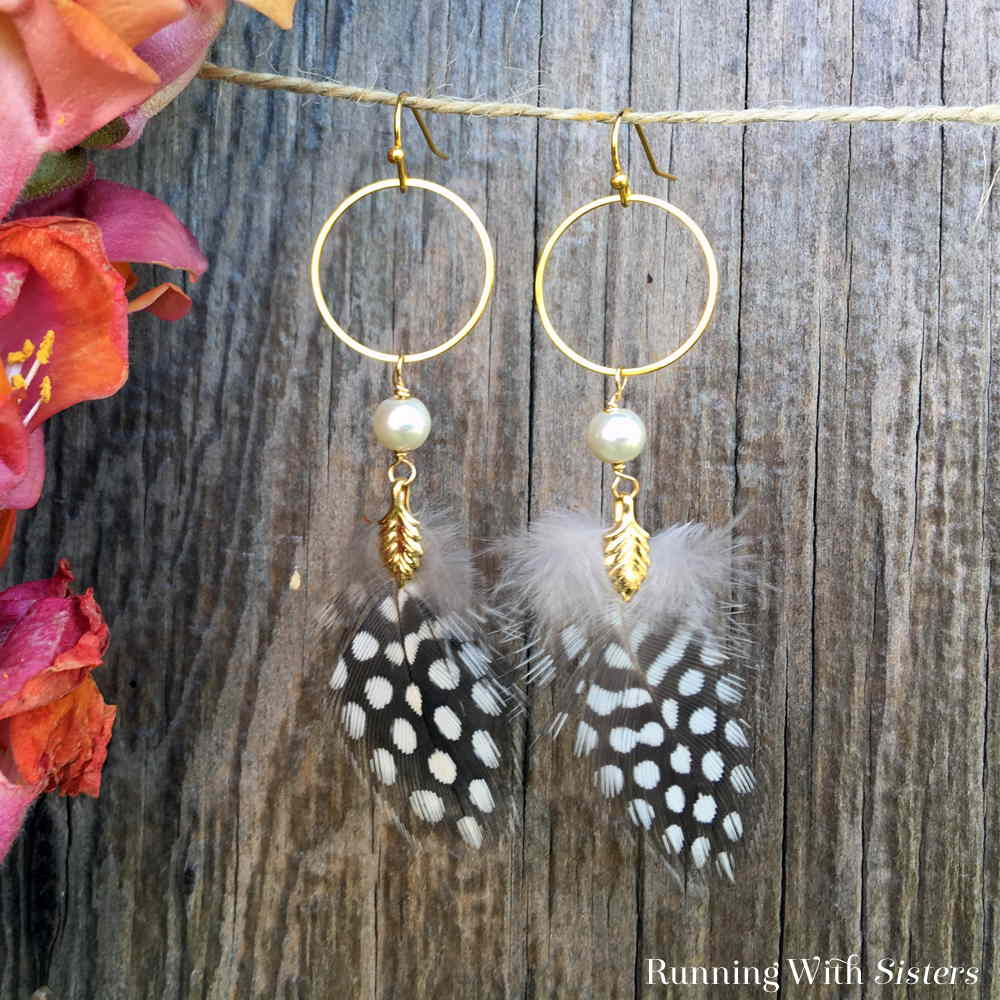 Make these Boho Feather Earrings using real feathers! We'll show you how to add a gold bail to the feather to make these pretty shoulder duster earrings.