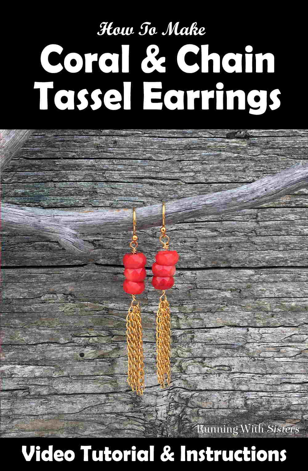 Make a pair of pretty Coral Chain Tassel Earrings. We'll show you how to make a chain tassel and attach it to the coral beads. Video included!