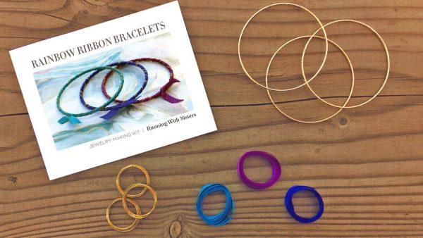 Rainbow Ribbon Wrapped Bracelets Kit Bahama Waters Kit Materials