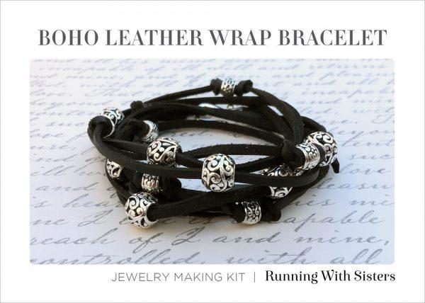 Boho Leather Wrap Bracelet Black Kit Insert