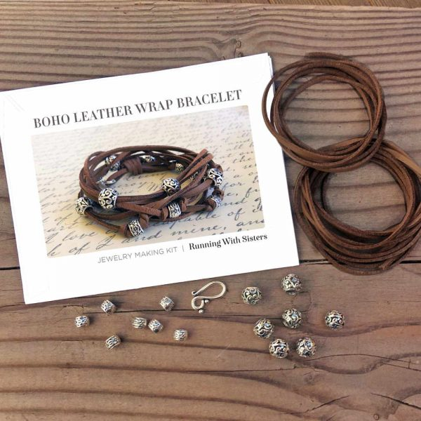 Cocoa Boho Leather Wrap Bracelet Kit Materials